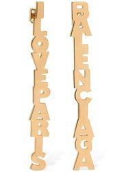 Balenciaga Mismatched I Love Paris / Logo Earrings - Metallic