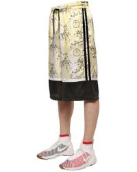 Astrid Andersen - Blossom Printed Satin & Mesh Shorts - Lyst