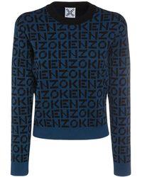 KENZO Strickpullover Aus Baumwollmischung - Blau