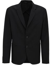 Armani Exchange ストレッチナイロンナイロンブレンドジャケット - ブラック
