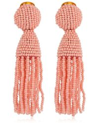 Oscar de la Renta - Short Beaded Tassel Earrings - Lyst