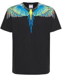 Marcelo Burlon Birds Wings コットンジャージーtシャツ - ブルー