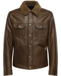 Tom Ford Giacca In Pelle Lucida Con Shearling - Marrone