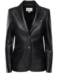 Gucci Кожаная Куртка-пиджак - Черный