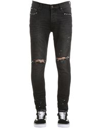 Purple Jeans Slim Fit De Denim Desgastados - Negro