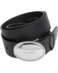 DSquared² - 35mm Leather Belt W/ Logo Buckle - Lyst
