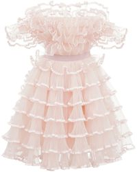 Giambattista Valli Off-the-shoulder Tulle Mini Dress - Pink
