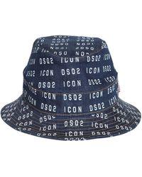 DSquared² Gorro Pescador De Denim Con Logo Estampado - Azul