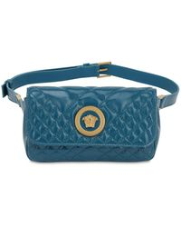 Versace Icon Quilted Patent Leather Belt Bag - Blue