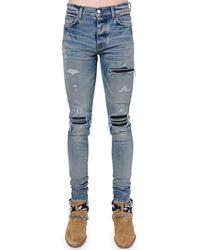 """Amiri Jeans Tapered Fit """"mx1"""" In Denim Di Cotone 15cm - Blu"""