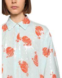 Lanvin シルクシャツドレス - ブルー