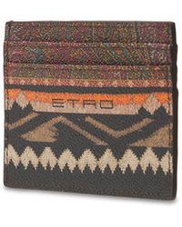 Etro Paisley コーテッドカードケース - ブラウン