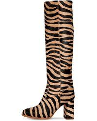 Maryam Nassir Zadeh 85mm Roma Tall Zebra Print Ponyskin Boot - Black