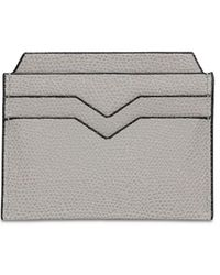 Valextra Grained Leather Card Holder - Gray