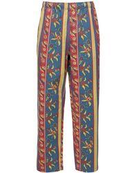 Stussy Fleur Print Striped Cotton Beach Pants - Blau