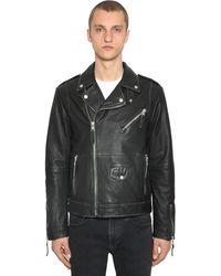 Calvin Klein Vintage Leather Biker Jacket - Black