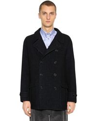 Giorgio Armani Doppelreihiger Mantel Aus Wolle - Blau