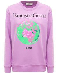 MSGM Bedruckter Pullover Aus Bio-baumwolle - Pink