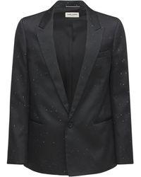 Saint Laurent Однобортный Пиджак Из Шёлка И Техноматериала - Черный