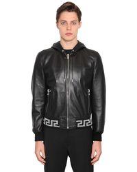 Versace Greca レザー ボンバージャケット - ブラック
