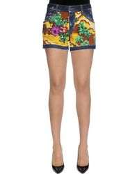 "DSquared² Shorts De Denim De Algodón Estampado ""Hawaii"" - Azul"