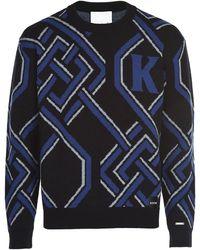 Koche Monogram Jacquard Wool Knit Jumper - Black