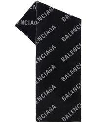 Balenciaga インターシャロゴストール - ブラック