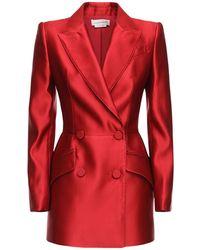 Alexander McQueen Zweireihiger Blazer Aus Seidenduchesse - Rot