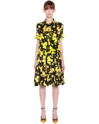 Rochas - Floral Printed Silk Satin Dress - Lyst