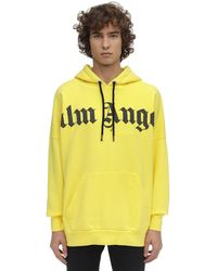 Palm Angels Logo Print Hoodie - Yellow