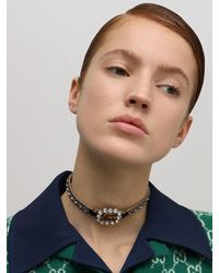 Gucci Gg Marmont Crystal Leather Choker - Braun
