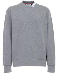 Thom Browne 4bar Intarsia Cotton Sweatshirt - Grey