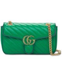 Gucci Кожаная Сумка Small Gg Marmont - Зеленый