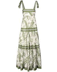 Zimmermann Платье Из Хлопка С Принтом - Зеленый