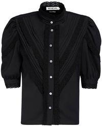 Acheval Pampa Yegua ストレッチコットンサテンシャツ - ブラック