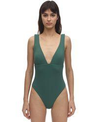 Eberjey Vivian Plunging Pique One-piece Swimsuit - Green