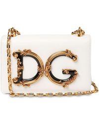 """Dolce & Gabbana Schultertasche Aus Leder """"dg Girls Barocco"""" - Weiß"""