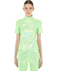 "Saks Potts T-shirt Collo Alto ""ice Shimmer"" - Verde"