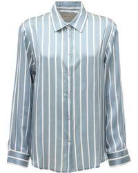 Asceno Пижама Рубашка Из Шелкового Атласа The London - Синий