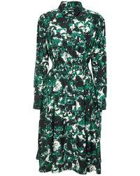 KENZO Платье Из Хлопка И Шелка С Принтом - Зеленый