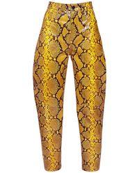 The Attico Pantaloni In Pelle Stampa Pitone - Multicolore
