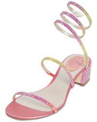 Rene Caovilla 40mm Snake Embellished Satin Sandals - Mehrfarbig