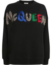Alexander McQueen Sweatshirt Aus Besticktem Jersey - Schwarz