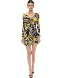 Versace Платье Мини С Принтом Baroque И Сборками - Черный