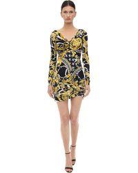 Versace Robe Courte En Jersey Stretch Imprimé - Noir