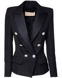 Alexandre Vauthier Fitted Wool Grain De Poudre Blazer - Black