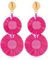 Oscar de la Renta Raffia Disk Drop Earrings - Pink