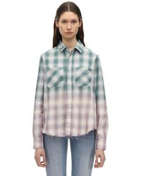 Amiri Raw Hem Check Ombré Shirt - Green