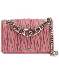 a1a97d673268 Lyst - Miu Miu Club Matelassé Leather Shoulder Bag in Pink