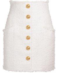 Balmain Minirock Aus Baumwollmischtweed - Weiß